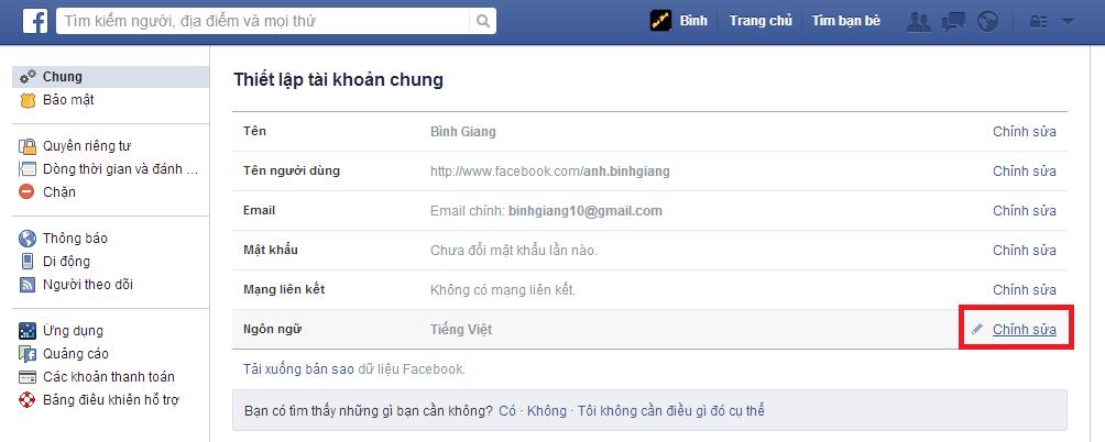 Hướng dẫn thay đổi ngôn ngữ trên Facebook