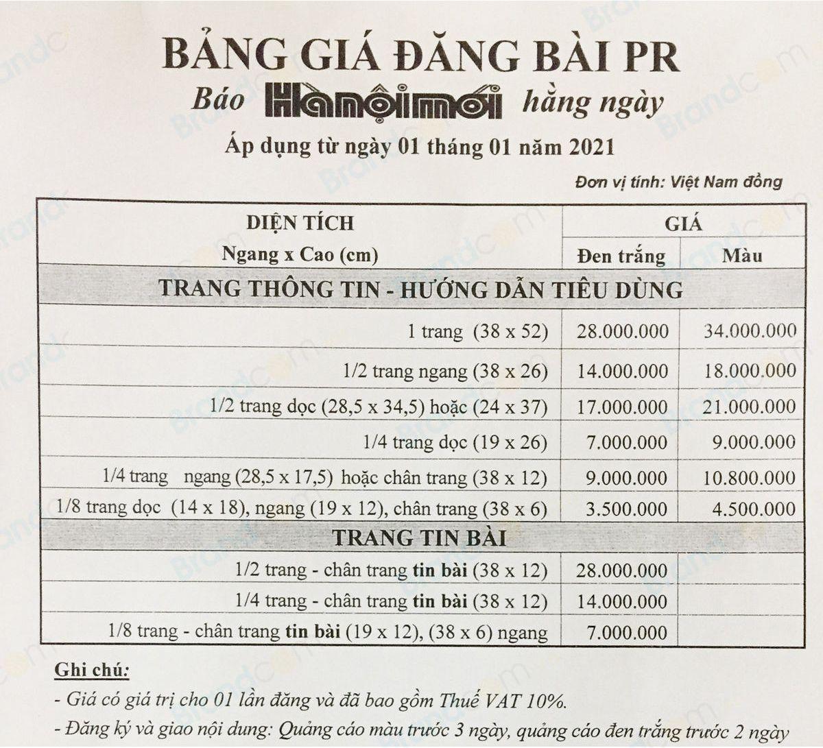 Bảng giá quảng cáo báo Hà Nội mới năm 2021