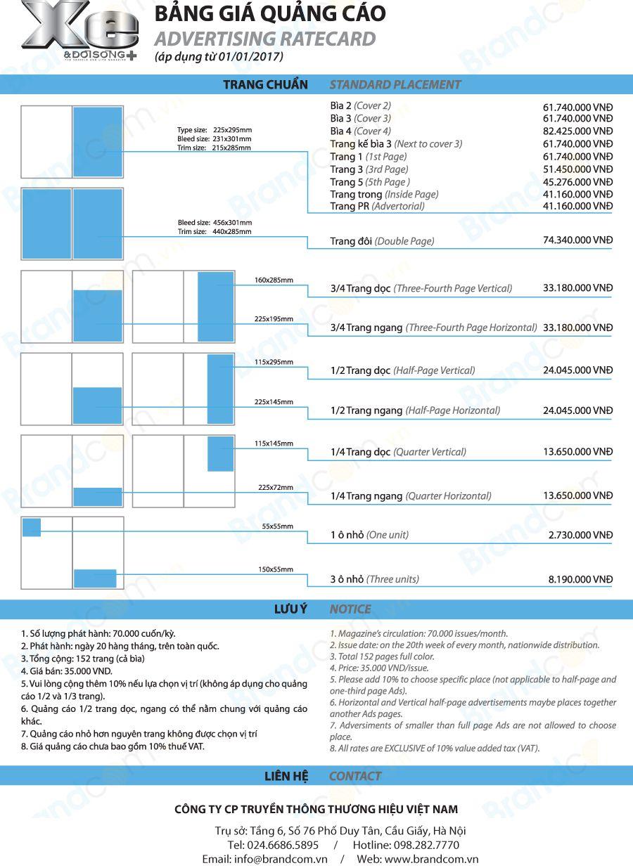 Bảng giá quảng cáo trên tạp chí Xe và đời sống