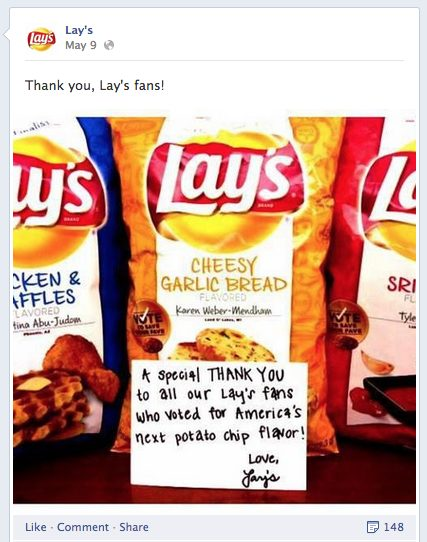 Lays đạt được sự tham gia của các fans bằng cách yêu cầu họ bỏ phiếu cho khoai tây hương vị chip.