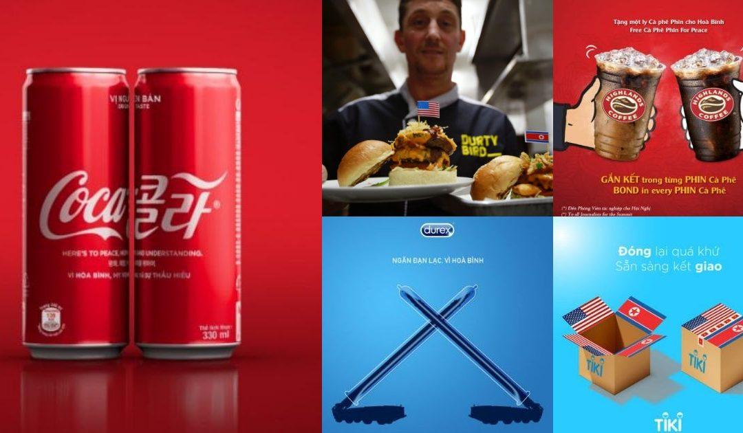 """Các thương hiệu rầm rộ """"tung chiêu"""" quảng cáo hưởng ứng Hội nghị Thượng đỉnh Mỹ – Triều"""