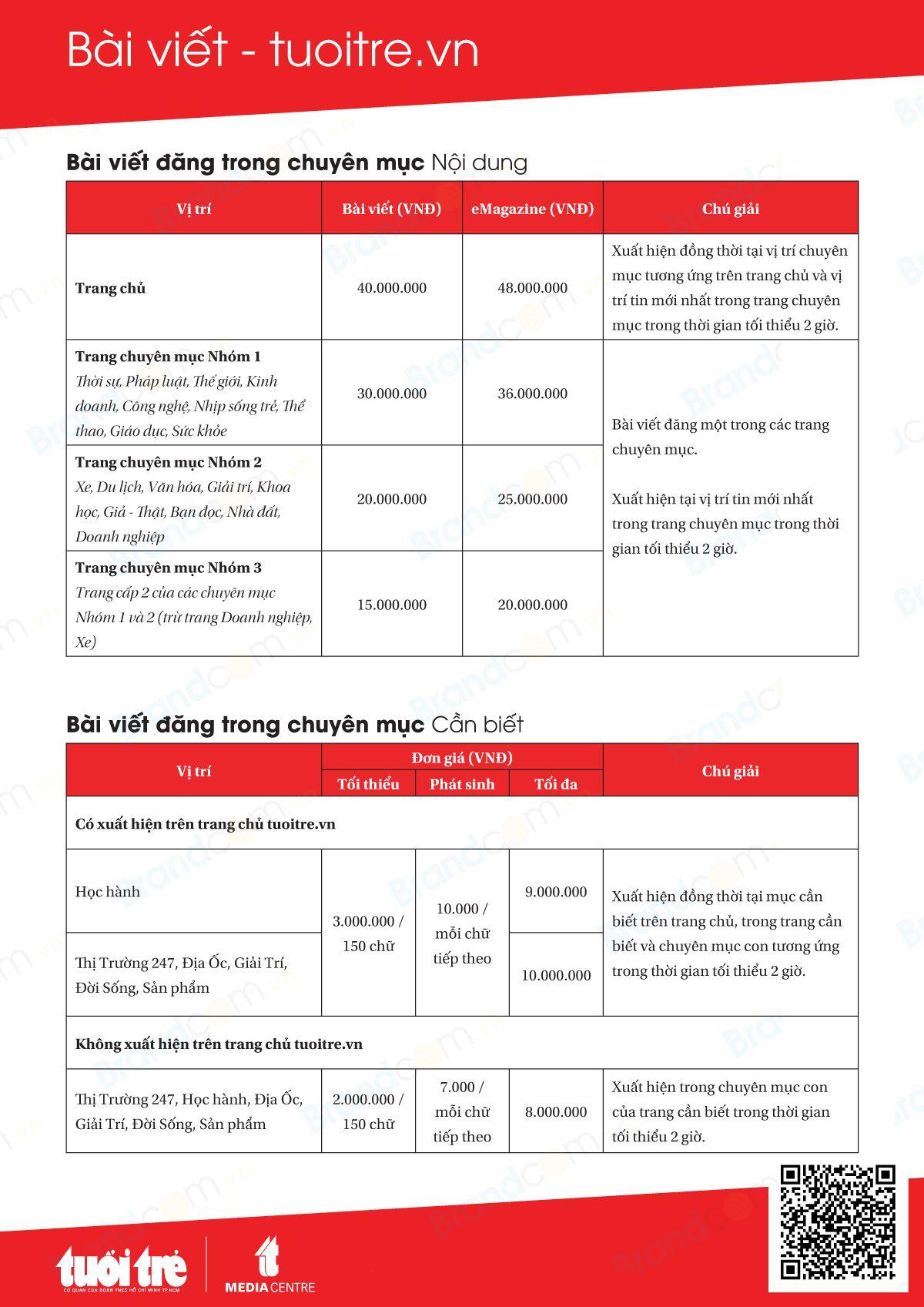 Bảng giá quảng cáo bài PR trên báo tuổi trẻ 2020