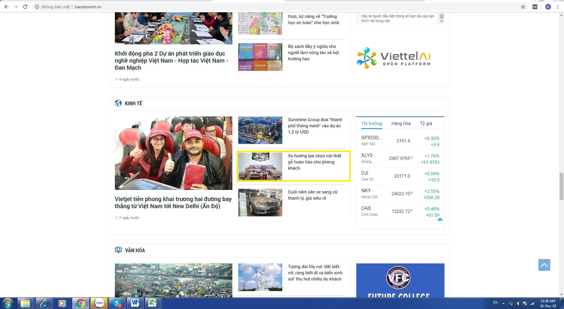 Brandcom đăng bài cho khách hàng trên Báo Dân sinh