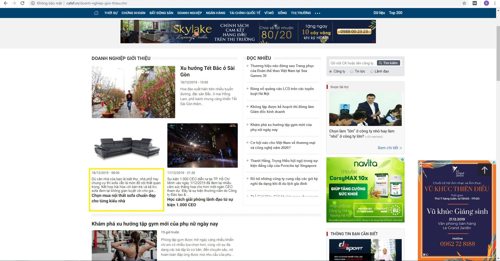 Brandcom đăng bài cho khách hàng trên CafeF.vn