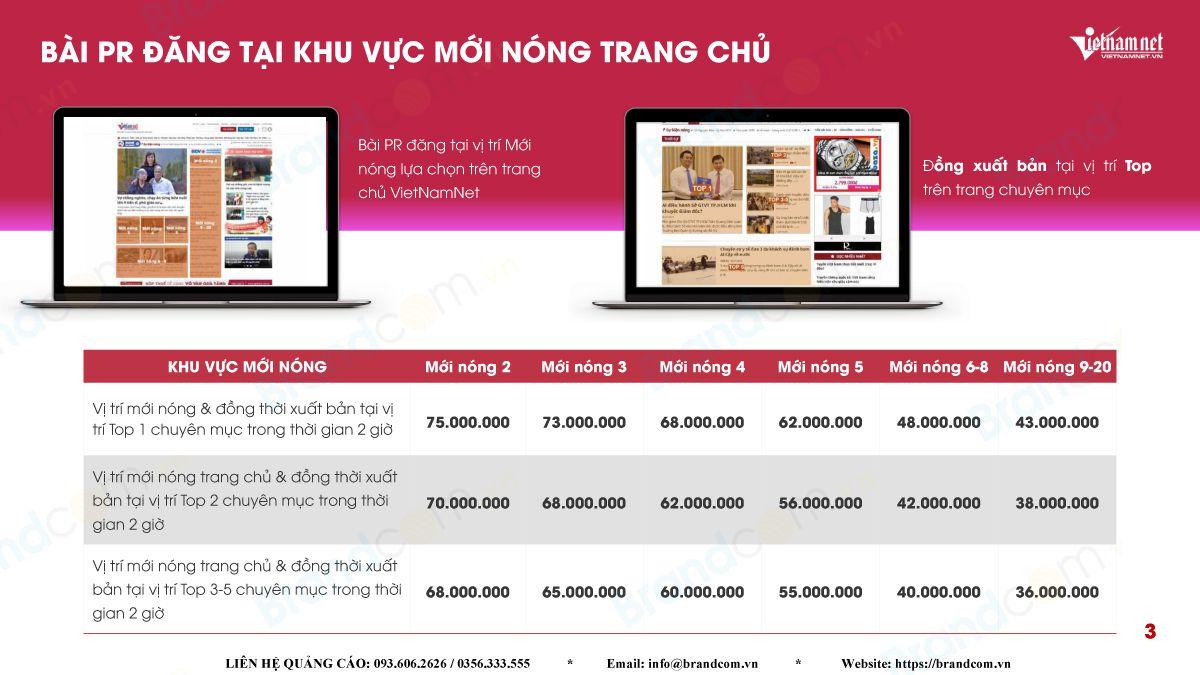 Bảng giá đăng bài PR báo vietnamnet