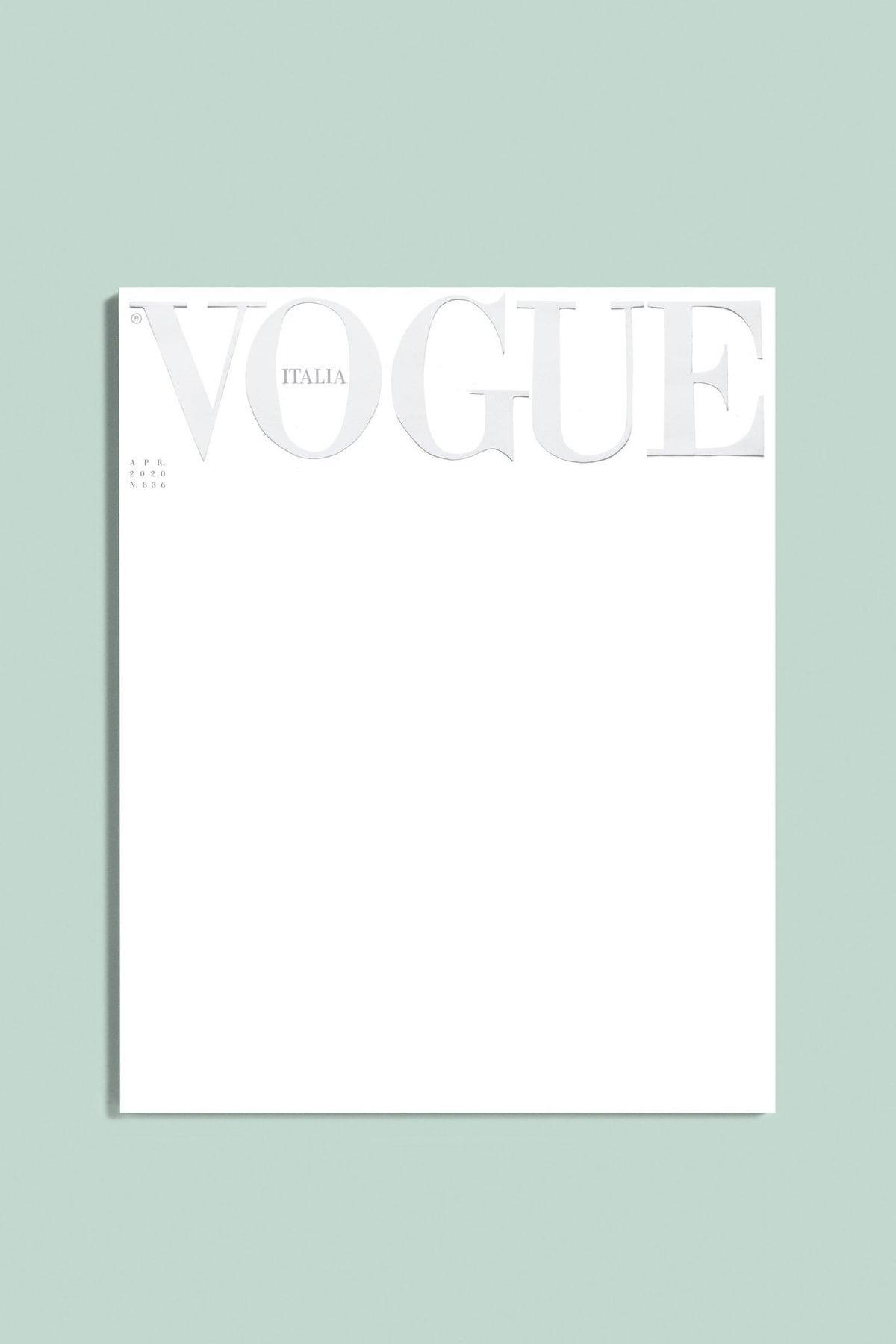 Trang bìa trắng của Vogue Italia.