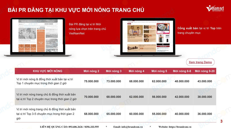Bảng giá quảng cáo báo vietnamnet năm 2021