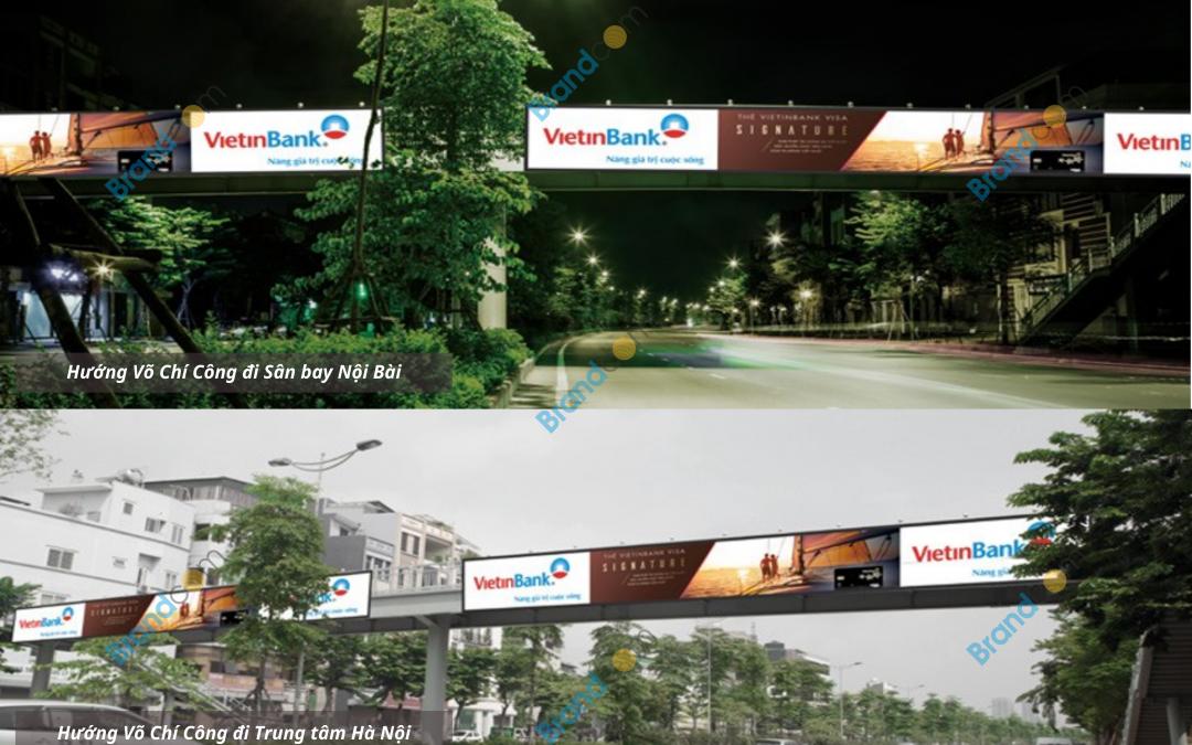 Quảng cáo trên cầu vượt đi bộ Võ Chí Công