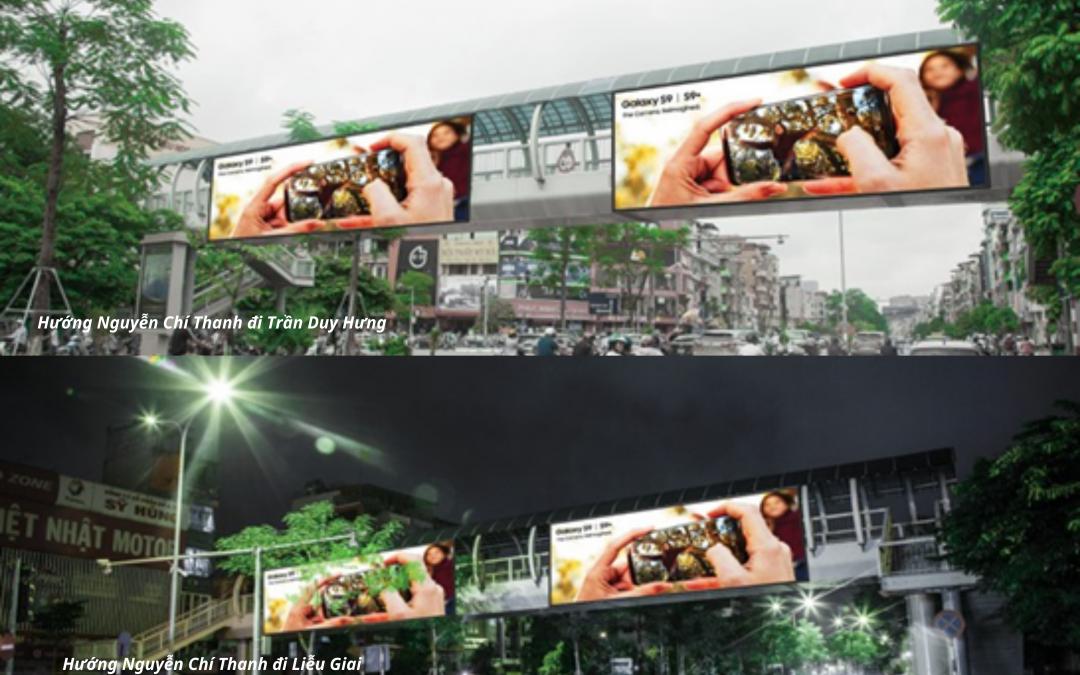 Quảng cáo trên cầu vượt đi bộ Xã Đàn