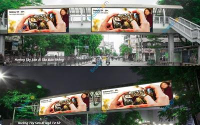 Quảng cáo trên cầu vượt đi bộ Đại học Công đoàn