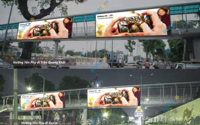 Quảng cáo trên cầu vượt đi bộ Yên Phụ