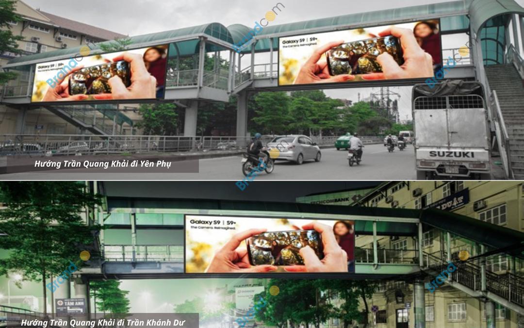 Quảng cáo trên cầu vượt đi bộ Trần Quang Khải