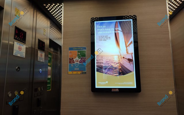 Project quảng cáo Frame thang máy cho Ngân hàng Vietcombank